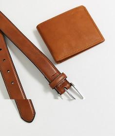 Набор из коричневого кожаного ремня и бумажника Topman-Коричневый