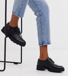 Черные броги на шнуровке с массивной подошвой для широкой стопы London Rebel-Черный