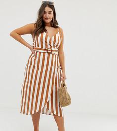 Платье миди в полоску с запахом и поясом с пряжкой ASOS DESIGN Curve-Мульти