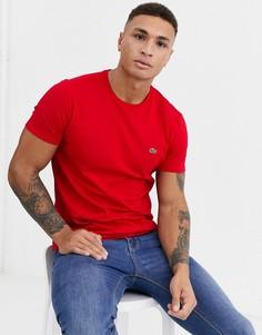 Красная футболка из хлопка пима с логотипом Lacoste-Красный