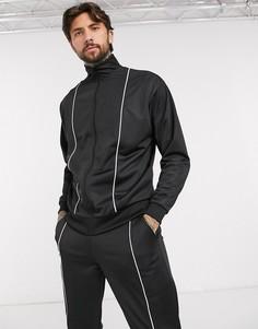 Черный спортивный костюм с окантовкой ASOS DESIGN