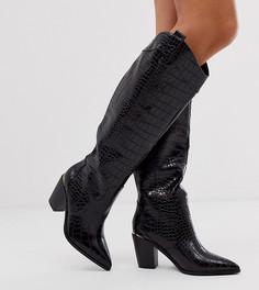 Черные сапоги в стиле вестерн с отделкой под крокодиловую кожу для широкой стопы ASOS DESIGN Catch Up-Черный