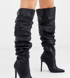 Черные высокие сапоги для широкой стопы на каблуке-шпильке со свободным голенищем ASOS DESIGN Carlotta-Черный