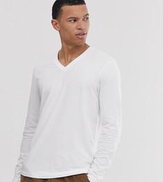 Белая футболка с длинными рукавами и V-образным вырезом ASOS DESIGN Tall-Белый