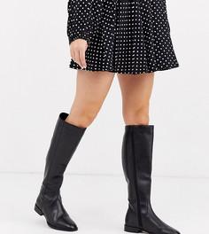 Кожаные сапоги для широкой стопы ASOS DESIGN Charisma-Черный