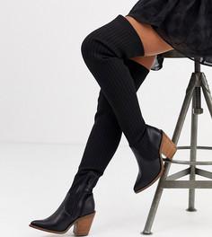 Черные сапоги-ботфорты в ковбойском стиле ASOS DESIGN-Черный