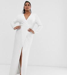 Платье с запахом и пайетками Club L London Plus-Белый