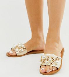 Кожаные сандалии для широкой стопы и с отделкой ASOS DESIGN premium Fountain-Золотой