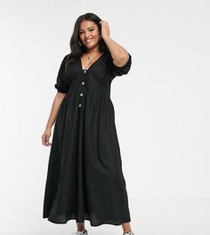 Льняное платье макси с пуговицами ASOS DESIGN Curve-Черный