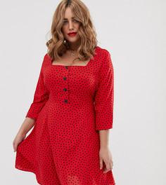 Красное шифоновое платье мини в горошек с квадратным вырезом Simply Be-Мульти