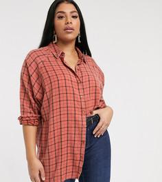 Рубашка бойфренда в клетку с длинными рукавами ASOS DESIGN Curve-Мульти