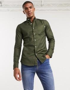 Оксфордская рубашка цвета хаки с длинными рукавами Topman-Зеленый