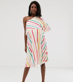 Плиссированное платье миди на одно плечо в полоску ASOS DESIGN Maternity-Мульти