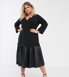Платье миди с топом‑свитшотом и плиссированной юбкой из искусственной кожи ASOS DESIGN Curve-Черный