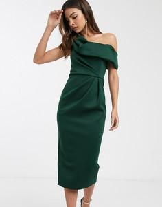 Зеленое платье-футляр миди со спущенным плечом и драпировкой ASOS DESIGN-Зеленый