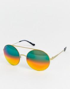 Солнцезащитные очки в круглой оправе Michael Kors-Золотой