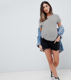 Черные джинсовые шорты ASOS DESIGN Maternity Tall Alvey-Черный