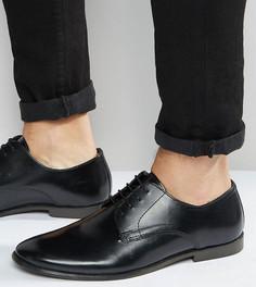Кожаные туфли дерби для широкой стопы ASOS-Черный