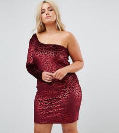 Бархатное облегающее платье на одно плечо с леопардовым принтом NaaNaa Plus-Красный