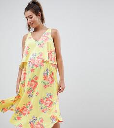 Платье миди с кейпом и цветочным принтом ASOS DESIGN Maternity-Мульти