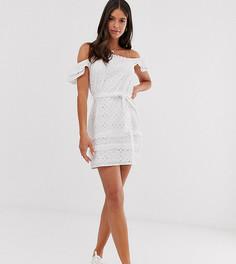 Белое платье с открытыми плечами и вышивкой ришелье Parisian Tall-Белый