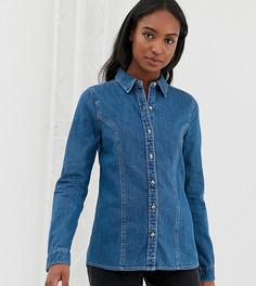 Синяя выбеленная приталенная джинсовая рубашка в стиле вестерн ASOS DESIGN Tall-Синий