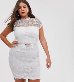 Белое кружевное платье миди с поясом и баской Paper Dolls Plus-Белый