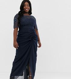 Темно-синее платье макси с отделкой и сборками на юбке Virgos Lounge Plus-Темно-синий