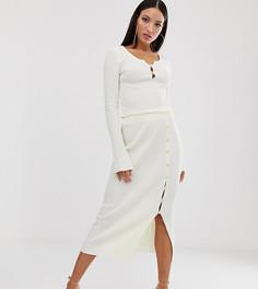 Трикотажная юбка миди в рубчик ASOS DESIGN Tall-Кремовый