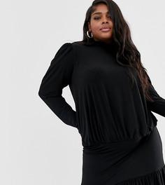 Черное платье мини с высоким воротником и присборенной отделкой John Zack Plus-Черный