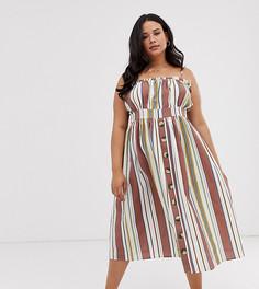 Льняное платье миди в полоску на пуговицах ASOS DESIGN Curve-Мульти