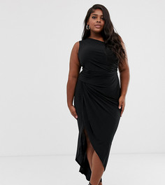 Черное асимметричное платье миди на одно плечо с разрезом до бедра John Zack Plus-Черный