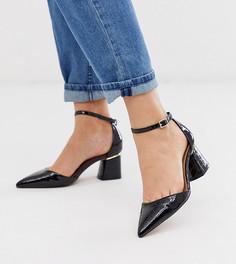 Черные туфли для широкой стопы на среднем каблуке с эффектом крокодиловой кожи и заостренным носком ASOS DESIGN Stardust-Черный