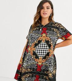 Свободное платье с V-образным вырезом и звериным принтом AX Paris Plus-Мульти