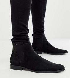 Черные ботинки челси для широкой стопы из искусственной замши ASOS DESIGN-Черный