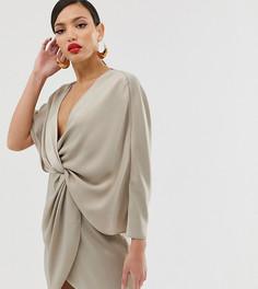 Атласное платье мини с рукавами-кимоно ASOS DESIGN Tall-Мульти
