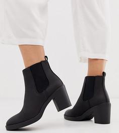 Черные ботинки челси на массивном каблуке New Look Wide Fit-Черный