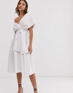 Платье миди для выпускного с поясом ASOS DESIGN-Белый
