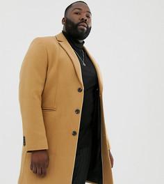 Пальто с добавлением шерсти верблюжьего цвета ASOS DESIGN Plus-Светло-коричневый