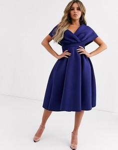 Платье миди для выпускного с поясом ASOS DESIGN-Синий