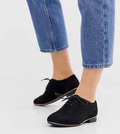 Черные полиуретановые броги для широкой стопы New Look-Черный