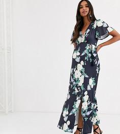 Платье макси с рукавами клеш, цветочным принтом и поясом с кисточками ASOS DESIGN Maternity-Мульти