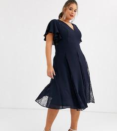 Платье миди с кружевными вставками ASOS DESIGN Curve-Темно-синий