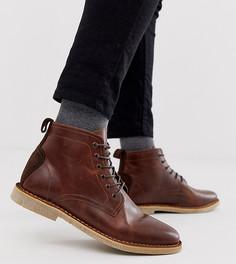 Светло-коричневые кожаные ботинки чукка для широкой стопы с замшевой отделкой ASOS DESIGN-Светло-коричневый