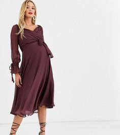 Платье миди с ярусной юбкой, запахом и кружевной отделкой ASOS DESIGN Maternity-Фиолетовый