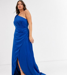 Ярко-синее атласное платье макси на одно плечо Chi Chi London Plus-Синий