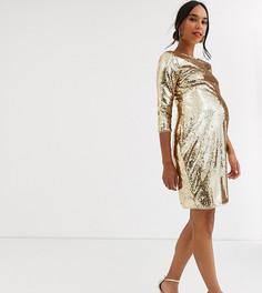Золотистое облегающее платье мини с пайетками TFNC Maternity-Золотой