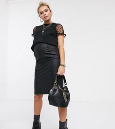 Черная юбка из искусственной кожи Mamalicious maternity-Черный Mama.Licious