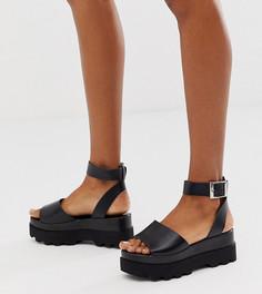 Черные кожаные сандалии для широкой стопы на плоской платформе ASOS DESIGN-Черный