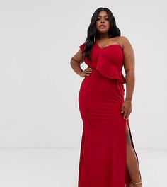 Платье макси на одно плечо Club L London Plus-Красный